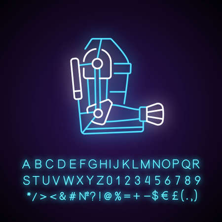 Exoskeleton neon light icon. Advanced prosthesis. Progressive device. Futuristic technology. Outer glowing effect. Sign with alphabet, numbers and symbols. Vector isolated RGB color illustration