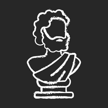 Ancient statue chalk white icon on black background. Art history. Ancient greek sculpture. Depicting realistic human form. Sculpted philosopher bust. Isolated vector chalkboard illustration Vecteurs