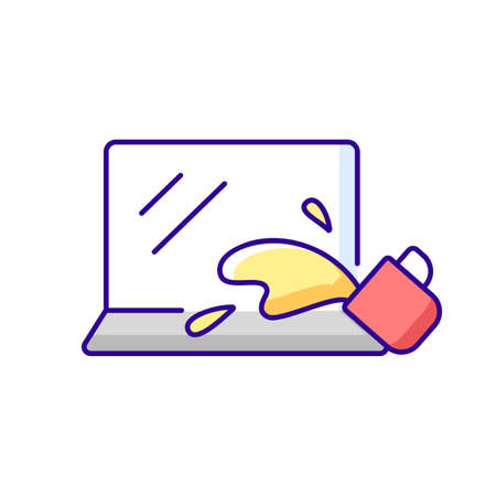 Water damage RGB color icon. Drink spilled on keyboard. Office accident with electronics. Liquid on notebook. Wet laptop. Hardware problem. Tech support, repair service. Isolated vector illustration