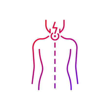 Neck pain gradient linear vector icon. Nerve root compression. Cervical radiculitis. Pressure on spinal nerves. Thin line color symbols. Modern style pictogram. Vector isolated outline drawing
