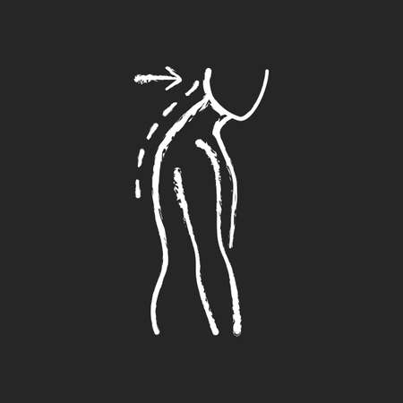 Slouching chalk white icon on black background. Poor posture. Forward head. Body looking down. Walking incorrectly. Muscles in neck, shoulders disruption. Isolated vector chalkboard illustration
