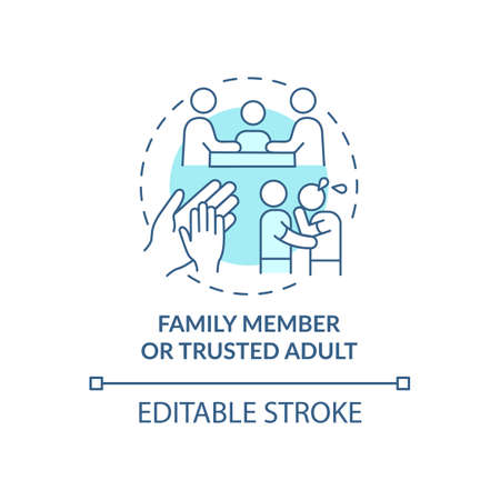 Family member and trusted adult concept icon. Reporting cyberbullying idea thin line illustration. Unwanted aggressive behavior preventing. Vector isolated outline RGB color drawing. Editable stroke