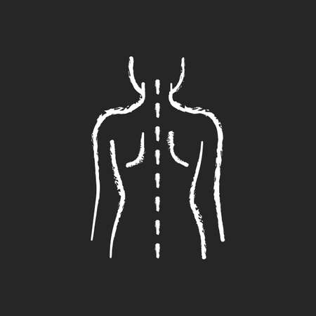 Good posture chalk white icon on black background. Normal spine. Normal spinal anatomy. Holding body and limbs right. Sustaining correct posture. Isolated vector chalkboard illustration