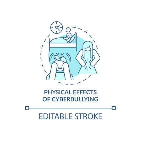 Physical cyberbullying effects concept icon. Negative consequences idea thin line illustration. Stressful life events. Nausea, diarrhea. Vector isolated outline RGB color drawing. Editable stroke Ilustración de vector