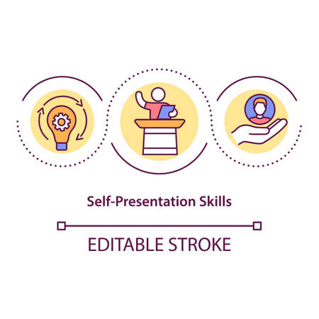 Self presentation skills concept icon. Promotion, public speaking. Successful personal branding idea thin line illustration. Vector isolated outline RGB color drawing. Editable stroke