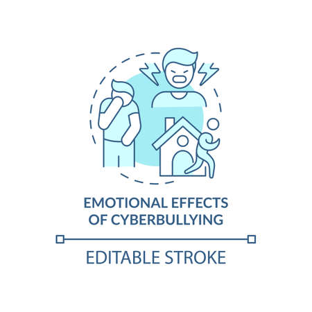 Emotional cyberbullying effects concept icon. Negative aftermaths idea thin line illustration. Being lonely, isolated. Adolescents behavior. Vector isolated outline RGB color drawing. Editable stroke Ilustración de vector