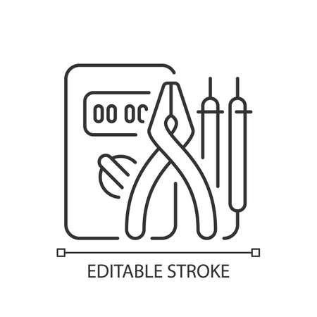 Electrician tools linear icon. Test instruments. Ensuring optimal safety. Screwdrivers, pliers. Thin line customizable illustration. Contour symbol. Vector isolated outline drawing. Editable stroke