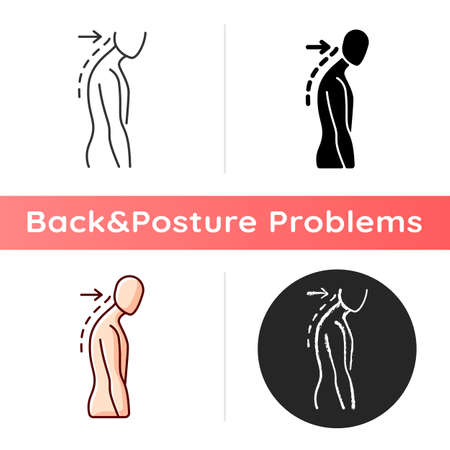 Slouching icon. Poor posture. Forward head. Body looking down. Walking incorrectly. Muscles in neck, shoulders disruption. Linear black and RGB color styles. Isolated vector illustrations