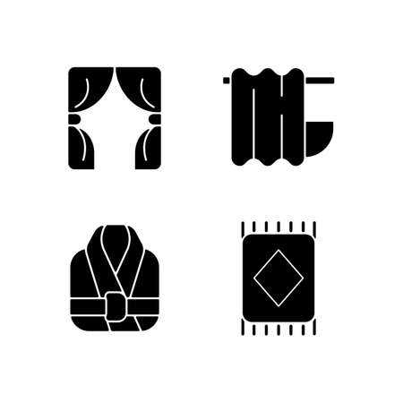 Home textile items black glyph icons set on white space. Window blinds. Bathroom curtain. Bath robes. Floor carpet. Material home products. Silhouette symbols. Vector isolated illustration