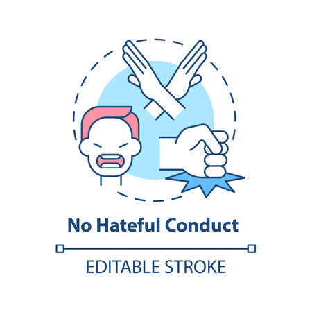 No hateful conduct concept icon. Social media safety idea thin line illustration. Promoting opposition to violence and offensive behavior. Vector isolated outline RGB color drawing. Editable stroke
