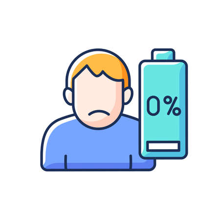 Vaccination effect RGB color icon. Drowsiness and fatigue. Mental health and emotional burnout. Physical weakness. Symptom of disease. Health care. Unwell man. Isolated vector illustration