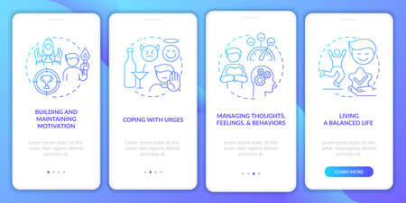 Addiction recovery steps methods onboarding mobile app page screen with concepts. Balanced life walkthrough 4 steps graphic instructions. UI, UX, GUI vector template with linear color illustrations