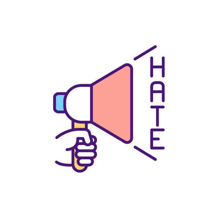 Hate speech in cyberspace RGB color icon. Expressions about violence and discrimination against someone. Provoking fear and hostility. Hateful messages. Isolated vector illustration