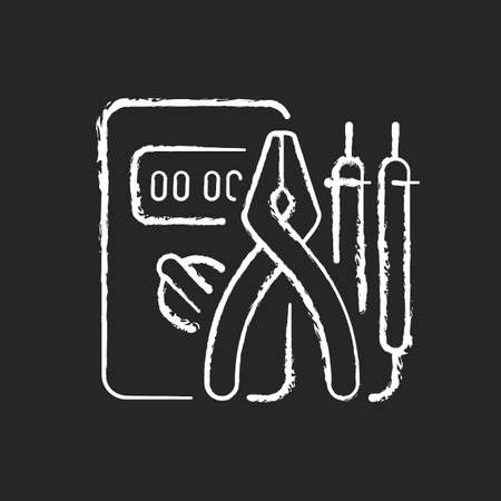 Electrician tools chalk white icon on dark background. Test instruments. Ensuring optimal safety. Screwdrivers, pliers. Electrical engineering field. Isolated vector chalkboard illustration on black