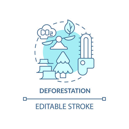 Deforestation concept icon. Human carbon emissions cause abstract idea thin line illustration. Tropical forest thinning and destroying by humans. Vector isolated outline color drawing. Editable stroke