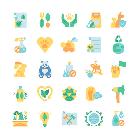 Ecology and wildlife protection vector flat color icon set. Zero waste. Green activism. Bio product, natural and organic. Cartoon style clip art for mobile app pack. Isolated RGB illustration bundle
