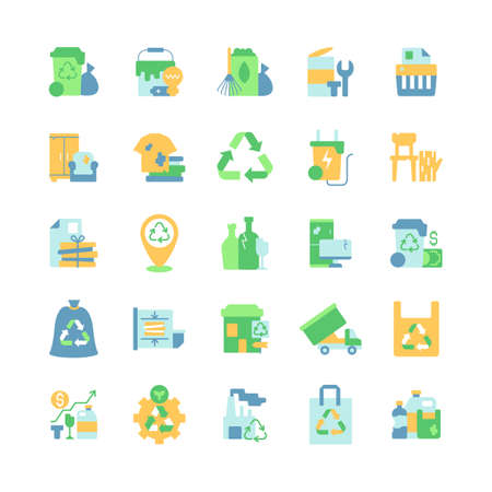 Waste management vector flat color icon set. Residential waste collection. Paper shredding. Bulky refuse. Cartoon style clip art for mobile app pack. Isolated RGB illustration bundle