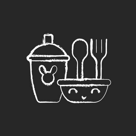 Kids dinnerware chalk white icon on dark background. Plates for children to eat comfortably. Learning how to eat. Rubbered plastic forks and spoons. Isolated vector chalkboard illustration on black