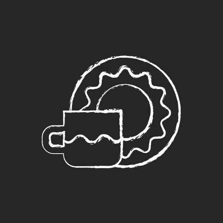 Cup and saucer set chalk white icon on dark background. Dinning accessories for tea party. Container for drinking hot liquids. Kitchen accessories. Isolated vector chalkboard illustration on black Vektoros illusztráció