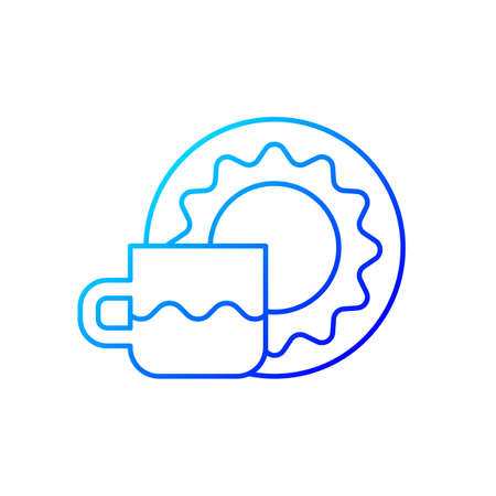 Cup and saucer set gradient linear vector icon. Dinning accessories for tea party. Container for drinking hot liquids. Thin line color symbols. Modern style pictogram. Vector isolated outline drawing