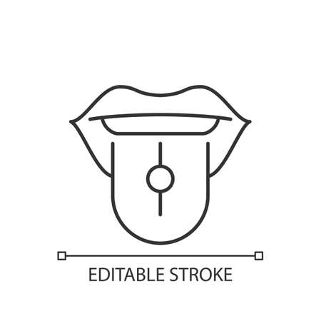 Tongue piercing linear icon. Beautiful jewelery in human mouth. Metal parts injected in body. Thin line customizable illustration. Contour symbol. Vector isolated outline drawing. Editable stroke