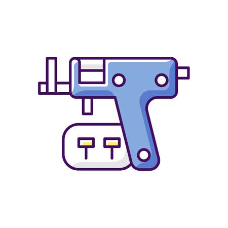 Piercing gun RGB color icon. Isolated vector illustration. Special instrument for making holes in body skin. Injecting jewelery in human body. Modern style simple filled line drawing.