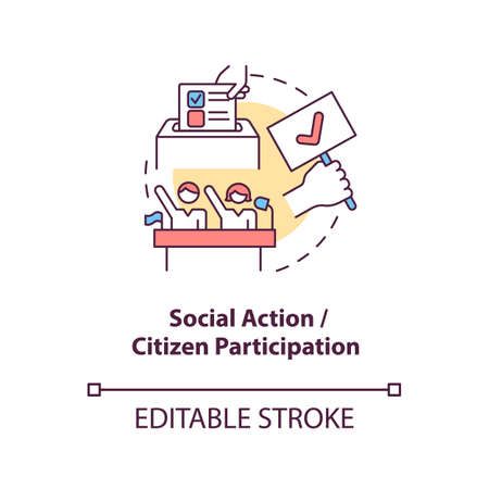 Social action and citizen participation concept icon. Community change abstract idea thin line illustration. Bringing out leadership potential. Vector isolated outline color drawing. Editable stroke Ilustración de vector