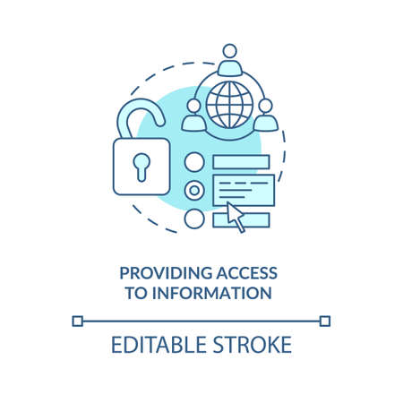 Providing access to information concept icon. Community development abstract idea thin line illustration. Global communication. Open sources. Vector isolated outline color drawing. Editable stroke