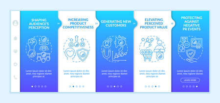 Strong brand advantages onboarding vector template. Responsive mobile website with icons. Web page walkthrough 5 step screens. Shaping audience perception color concept with linear illustrations