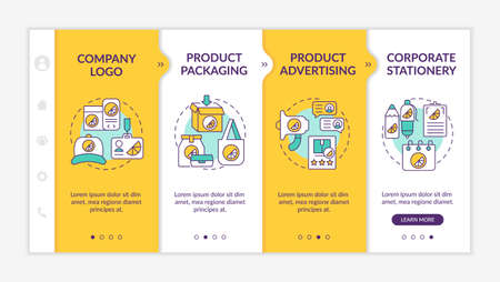 Corporate brand contact points onboarding vector template. Responsive mobile website with icons. Web page walkthrough 4 step screens. Corporate stationery color concept with linear illustrations Vecteurs