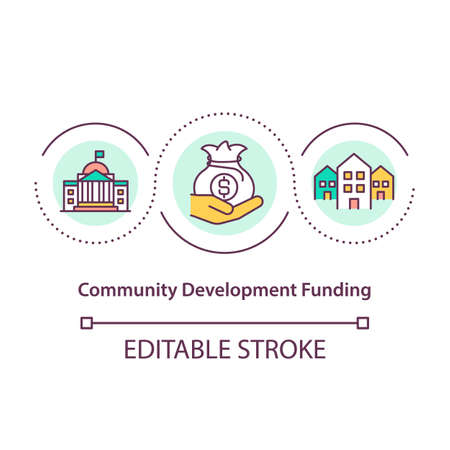 Community development funding concept icon. Money for improving social group. Society upgrading abstract idea thin line illustration. Vector isolated outline color drawing. Editable stroke Vektoros illusztráció