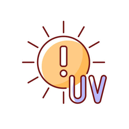 Danger of UV rays RGB color icon. Ultraviolet exposure risk during summer. Caution to prevent heat exhaustion. Sun overexposure. Isolated vector illustration. Heat stroke simple filled line drawing