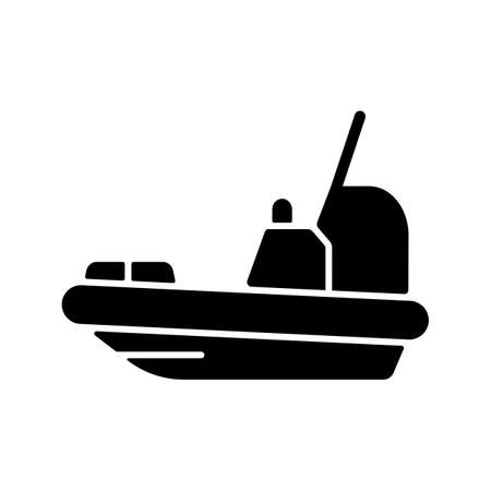 Rescue boat black glyph icon. Lifeboat for victims rescuing. Survival craft. Saving lives at sea, ocean. Lifesaving works. Silhouette symbol on white space. Vector isolated illustration