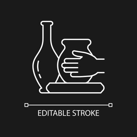 Handmade pottery white linear icon for dark theme. Ceramic vessel creation. Making pottery on wheel. Thin line customizable illustration. Isolated vector contour symbol for night mode. Editable stroke