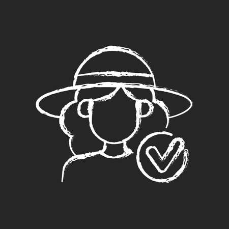 Wearing wide brimmed hat chalk white icon on dark background. Woman in outfit for beach. Avoid sunstroke during summer. Heatstroke prevention. Isolated vector chalkboard illustration on black