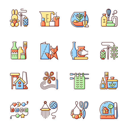 Trending hobbies RGB color icons set. Home business. Boho style. Craft activity. Creative reuse. Home decor. Isolated vector illustrations. Handcrafted pieces simple filled line drawings collection