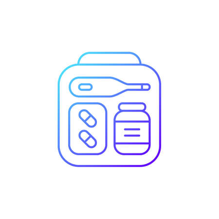 Mini first aid kit gradient linear vector icon. Emergency bag with medication for trip. Travel size objects. Thin line color symbols. Modern style pictogram. Vector isolated outline drawing