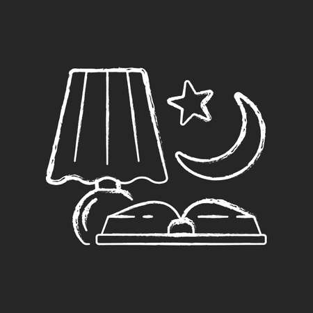Evening reading chalk white icon on dark background. Late nighttime studying. Fairytale books to read before bedtime. Reader hobby. Everyday routine. Isolated vector chalkboard illustration on black