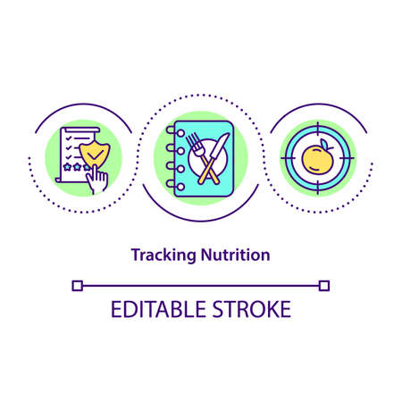 Tracking nutrition concept icon. Medical recomendations in food. Special diet. Organic meals abstract idea thin line illustration. Vector isolated outline color drawing. Editable stroke Vektoros illusztráció