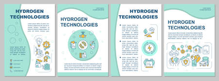 Hydrogen technologies brochure template. Energy usage. Flyer, booklet, leaflet print, cover design with linear icons. Vector layouts for presentation, annual reports, advertisement pages