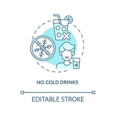 No cold drinks concept icon. Heatstroke prevention abstract idea thin line illustration. Stomach cramps risk reducing. Rehydration process. Vector isolated outline color drawing. Editable stroke