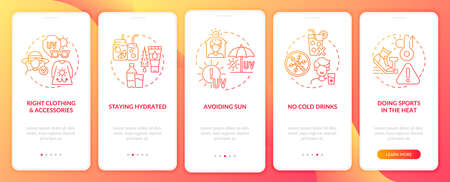 Heat exhaustion prevention onboarding mobile app page screen. Avoiding sunlight walkthrough 5 steps graphic instructions with concepts. UI, UX, GUI vector template with linear color illustrations