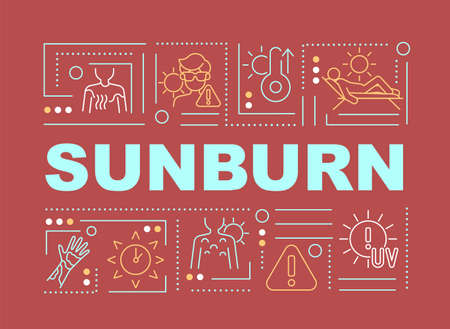 Sunburn word concepts banner. Sun exposure. Wearing lightweight clothing. Infographics with linear icons on red background. Isolated creative typography. Vector outline color illustration with text Vecteurs