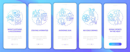 Heat stroke prevention onboarding mobile app page screen. Staying hydrated walkthrough 5 steps graphic instructions with concepts. UI, UX, GUI vector template with linear color illustrations Vecteurs