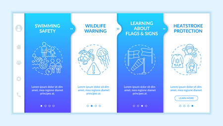 Summer seashore safety onboarding vector template. Responsive mobile website with icons. Web page walkthrough 4 step screens. Safe water. Heatstroke protection color concept with linear illustrations