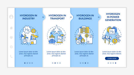 Hydrogen consumption onboarding vector template. Responsive mobile website with icons. Web page walkthrough 4 step screens. Building, power generation color concept with linear illustrations