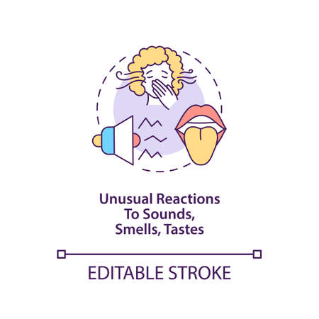 Sensory sensitivity concept icon. Autism symptom abstract idea thin line illustration. Unusual reactions to sounds, smells, tastes. Vector isolated outline color drawing. Editable stroke
