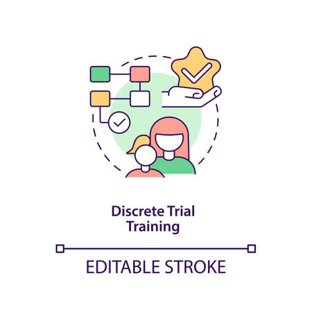 Discrete trial training concept icon. Autistic behavior correction abstract idea thin line illustration. Applied behavioral analysis. Vector isolated outline color drawing. Editable stroke Ilustracje wektorowe