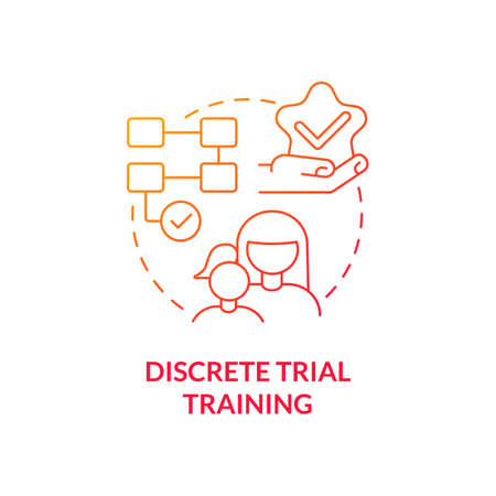 Discrete trial training concept icon. Autistic behavior correction abstract idea thin line illustration. Autism therapy. Teaching technique. Intervention method. Vector isolated outline color drawing