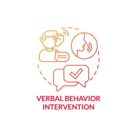 Verbal behavior intervention concept icon. Autistic behavior correction abstract idea thin line illustration. Help to get desired objects, results. Vector isolated outline color drawing Ilustración de vector